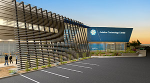 Architectural rendering of new Aviation Technology Center of Excellence at Pima Community College