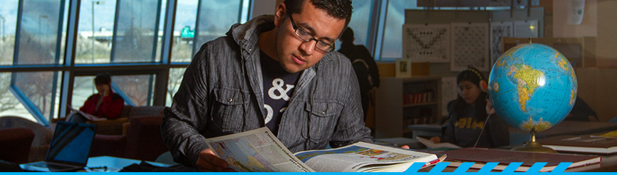 Student studying at PCC library